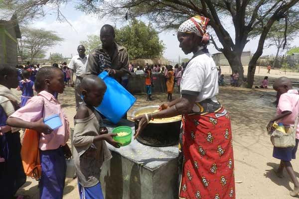 A school feeding programme in a school in Turkana.