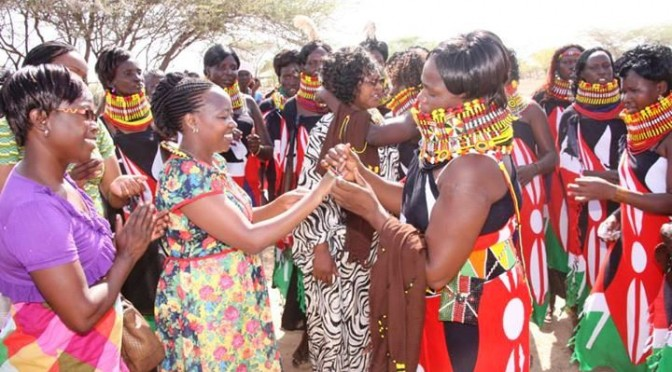 Her Excellency Mrs. Rachel Ruto in Lodwar during the launch of table banking on 12/4/2014
